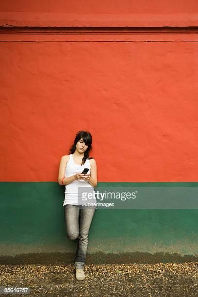 Teenage girl text messaging