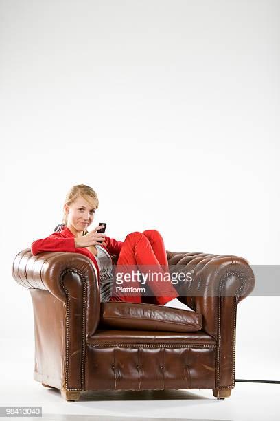 Teenage girl using a mobile phone.