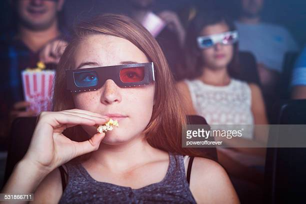 Teenage Girl Watching a 3D Movie
