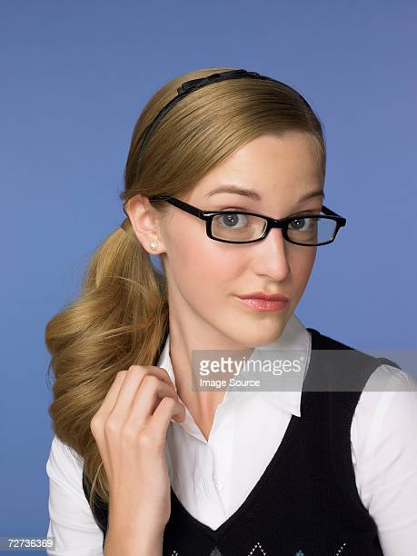 Teenage girl wearing eyeglasses