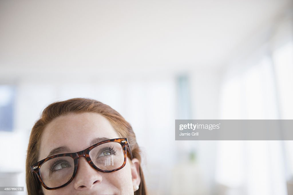 Teenage girl (14-15) wearing glasses : Stock Photo