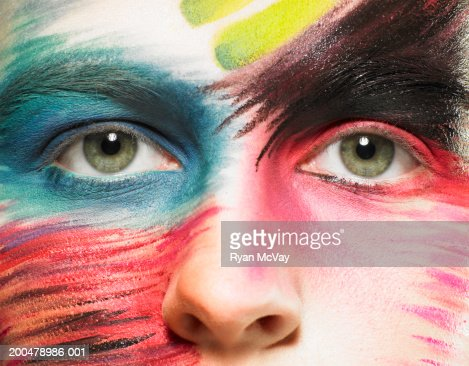 Teenage girl (15-17) wearing stage makeup, portrait, close-up of eyes : Stock Photo