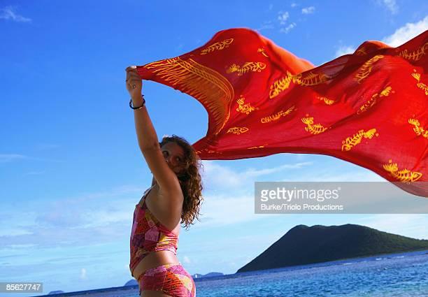Teenage girl with billowing sarong