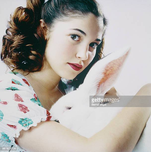Teenage girl with hare