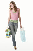 Teenage girl with shopping bags