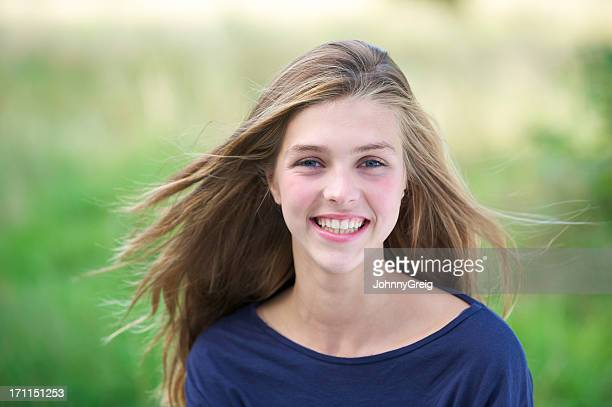 Teenage girl with wind in her hair