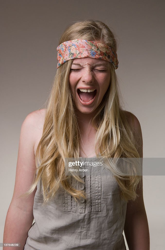 Teenage girl yelling : Stock Photo