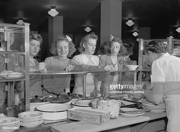 Teenage Girls at Cafeteria Counter Woodrow Wilson High School Washington DC USA Esther Bubley for Office of War Information October 1943