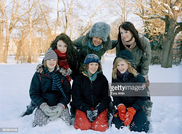 Teenage girls in the snow Sweden.
