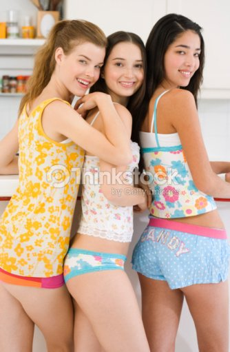 Teenage Girls In Underwear Stock Photo | Thinkstock