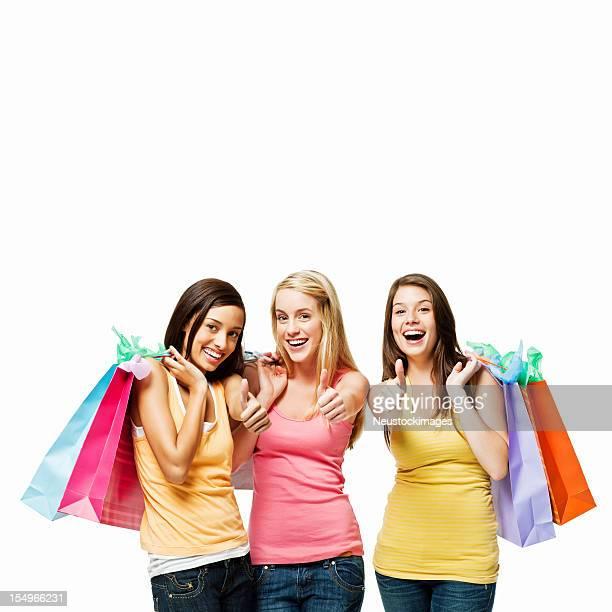 Ragazze adolescenti Shopping-isolato