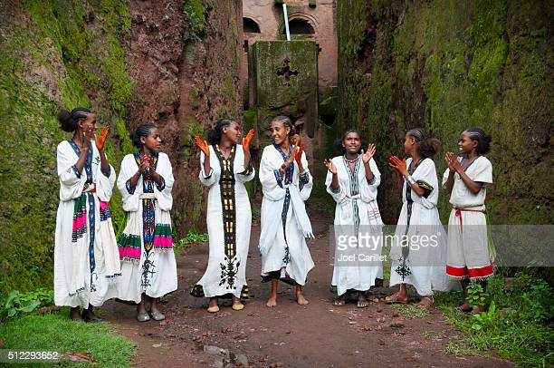 Teenage girls singing in Lalibela, Ethiopia