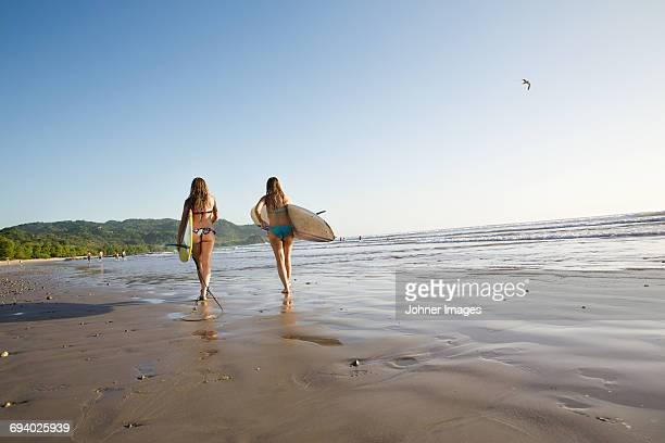 Teenage girls walking on beach with surfboards