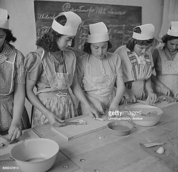 Teenage High School Girls in Domestic Science Class Penasco New Mexico USA John Collier for Office of War Information January 1943