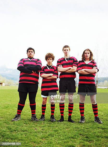 Teenage male (14-18) rugby players, portrait