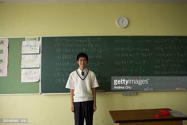 Teenage male student (14-16) in front of blackboard, portrait