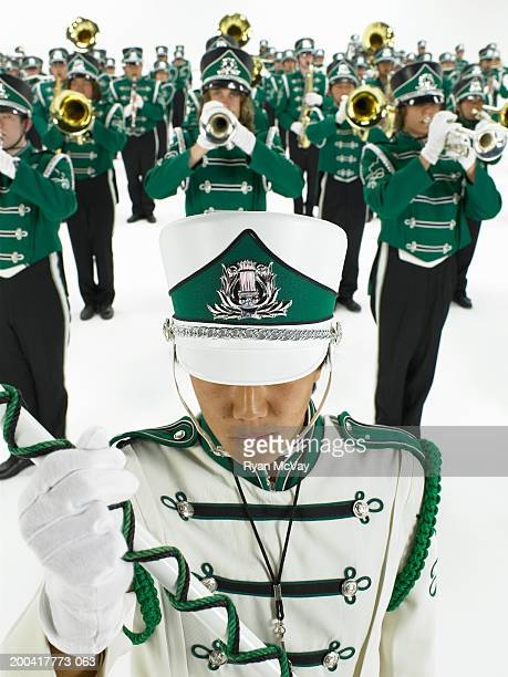 Teenage (14-18) marching band, elevated view (focus on drum major)