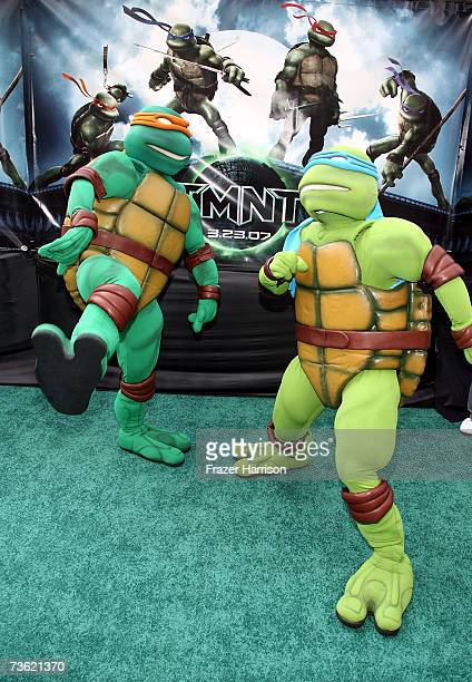 Teenage Mutant Ninja Turtles arrive at the Premiere Of Warner Bros 'Teenage Mutant Ninja Turtles' held at the Grauman's Chinese Theatre on March 17...
