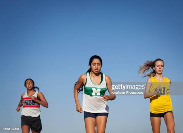 Teenage runners training