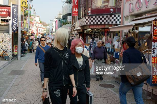 Teenage street fashion Harajuku district punk on March 20 2015 in Tokyo Japan
