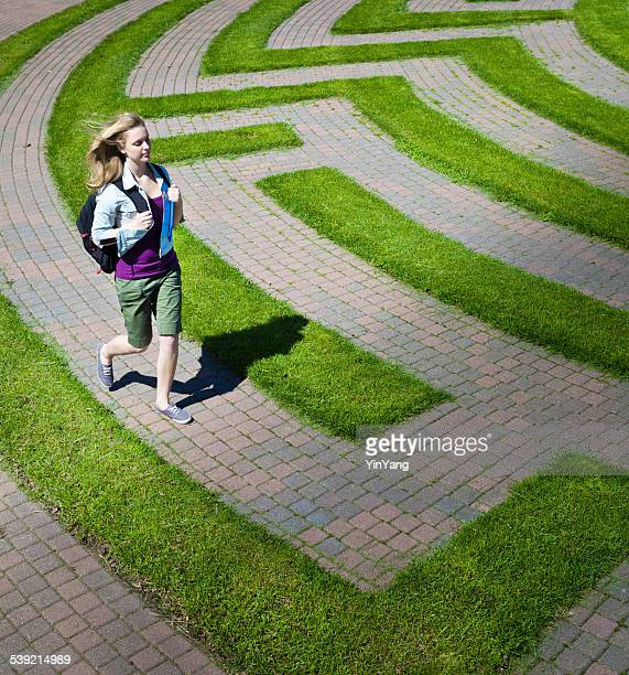 Teenage Student Running in the Maze of College Education