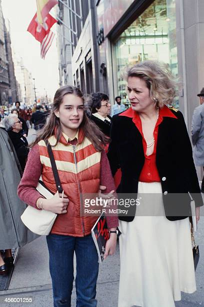 Teenaged American actress and model Brooke Shields and her mother Teri Shields walk together New York New York 1978