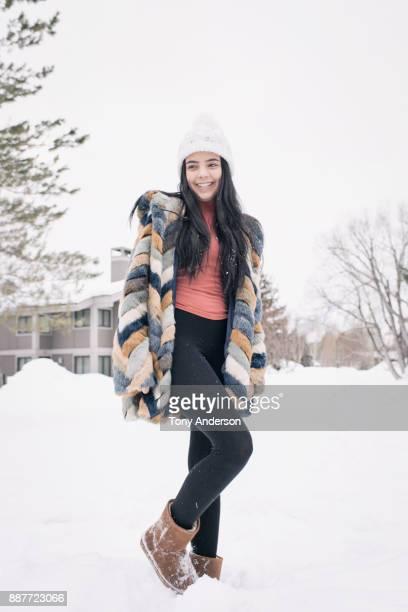 Teenaged girl outside in winter