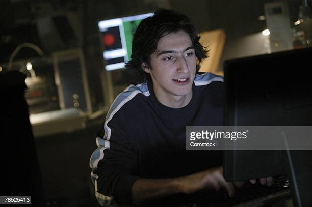 Teenager at computer