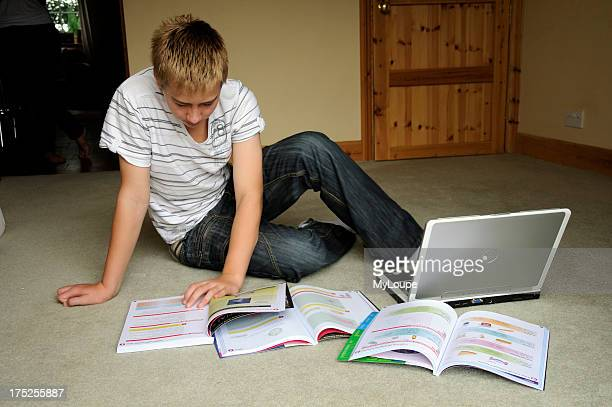 Teenager boy revising for GCSE exams student studying at home