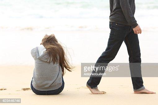 Teenager couple breaking up ending relation : Stock Photo
