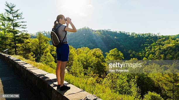 Teenager girl explore scenic view to Cherokee National Forest, Tennessee