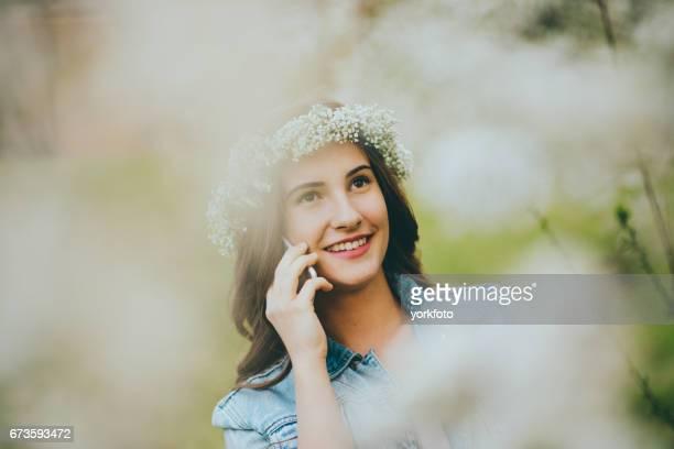 teenager girl using phone