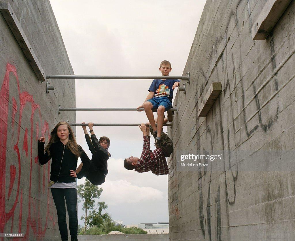 Teenager on urban playground : Stock Photo