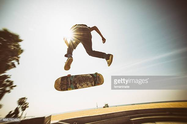 Teenager Skateboarding Venice Beach Skatepark in Los Angeles