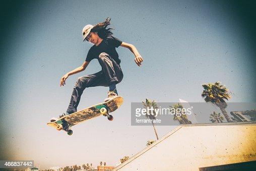 Teenager Skateboarding Venice Beach Skatepark in Los Angeles