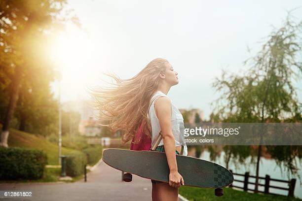 teenager woman enjoying her skating day