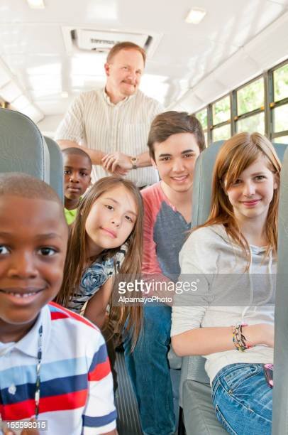 Teenagers and kids in the school bus - IX