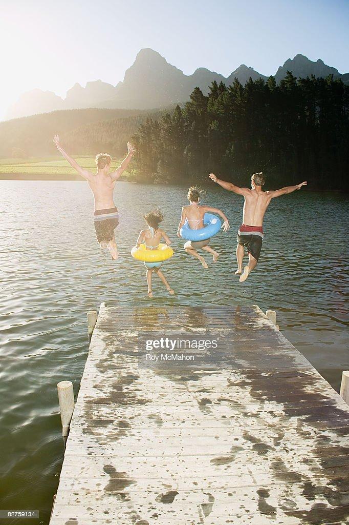 teenagers at lake : Stock Photo