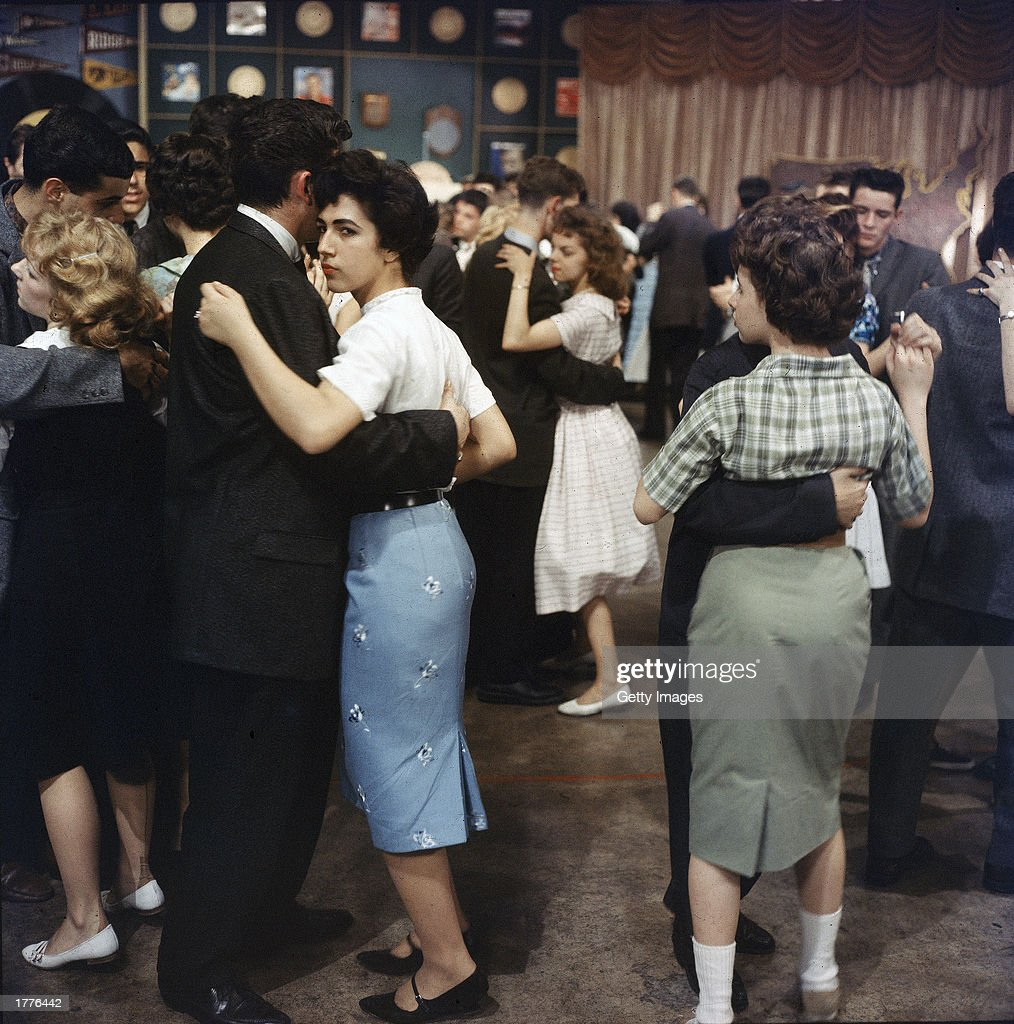 Teenagers dance on the set of Dick Clark's television program 'American Bandstand' 1950s