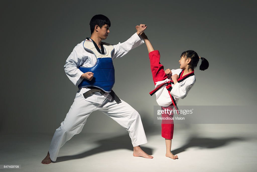Teenagers doing martial arts, Tae Kwon Do