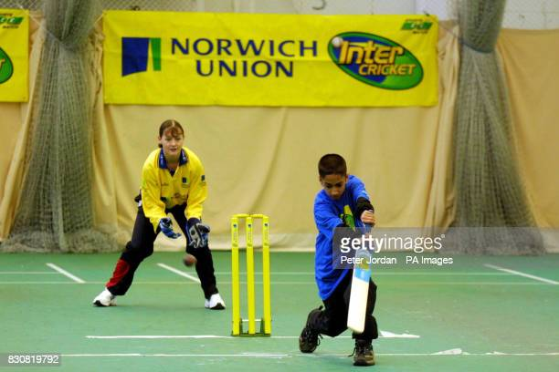 Teenagers during a match at the Middlesex County Finals of the Norwich Union Inter Cricket Indoor Tournament at Lord's Cricket Ground north London