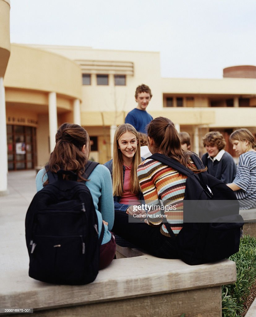 Teenagers (14-16) hanging around school during recess : Stock Photo