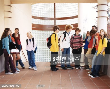 Teenagers (14-16) hanging out in school : Foto de stock