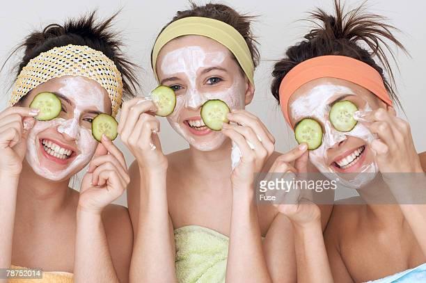 Teenagers Having Facials
