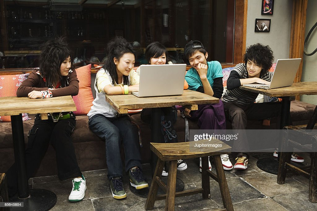 Teenagers in cybercafe