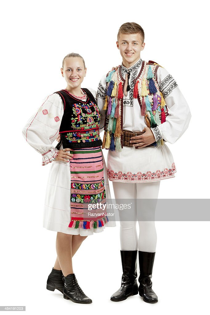 Teenagers in Traditional Costumes : Stock Photo