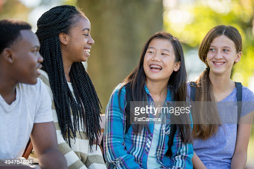 Teenagers Laughing Together