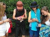 Teenagers on smart phones Internet addiction