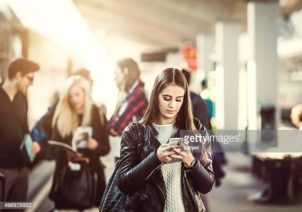 Teenagers on the railway station