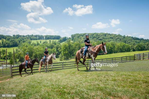 Teenagers trail riding in Hampstead Maryland USA